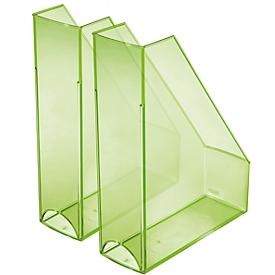 HELIT tijdschriftenhouder, A4 - C4, polystyreen, 2 stuks, groen transparant