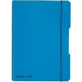 Herlitz Notizbuch my.book, Format DIN A5, Kunststoff, 40 karierte Blätter, blau
