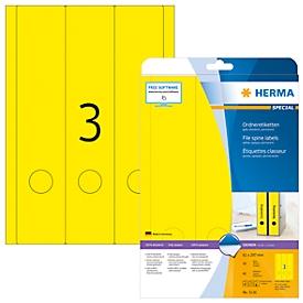Herma Ordneretiketten A4, 297 x 61 mm, permanent haftend/bedruckbar, 60 Stück, gelb
