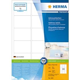 Herma premium adresetiketten nr. 4265 op A4-bladen, 1800 etiketten, 100 vellen