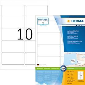 Herma premium-adresetiketten nr. 4667 op A4-bladen, 1000 etiketten, 100 vellen
