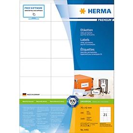 Herma Premium-Etiketten Nr. 4451 auf DIN A4-Blättern, 2100 Etiketten, 100 Bogen