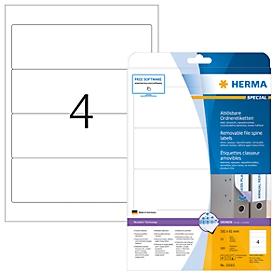 HERMA Rückenschild, A4, Rückenbreite 61 mm, ablösbar, 100 Stück, weiß