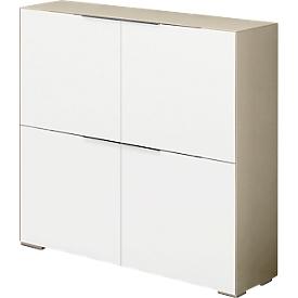 Highboard Nizza, 4 deuren met 1 legbord, multifunctioneel, B 1118 x H 1136 mm, glas zand/wit glas