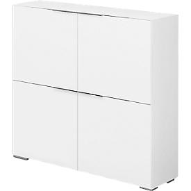 Highboard Nizza, 4 Türen m. 1 Fachboden, Multifunktionseinsatz, B 1118 x H 1136 mm, weißglas matt