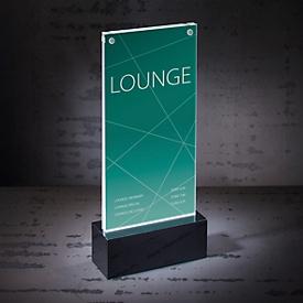 Hochwertiger Tischaufsteller DIN lang: Edles Design, in den Maßen 116 x 254 x 46 mm