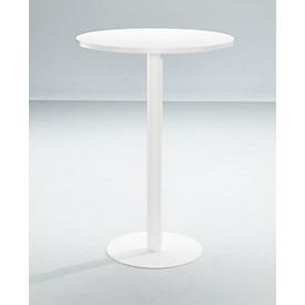 Hoge tafel Paperflow, rond, met stalen frame, kolomvoet, Ø 800 mm, bestand tegen ontsmettingsmiddelen, wit