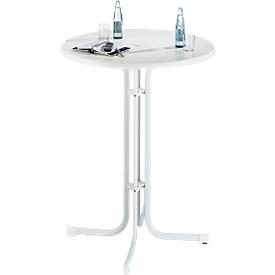 Hoge tafel Quickstep met parasolopening, desinfectiemiddelbestendig, Ø 850 x H 1100 mm, wit