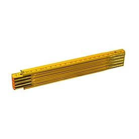 Holz-Gliedermaßstab 2m - 10 Glieder, Gelb, Auswahl Werbeanbringung optional
