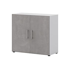 Home Office archiefkast TEMPIO, van hout, 2 deuren, 2 OH, B 800 x D 340 x H 720 mm, wit/beton