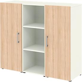 Home Office Sideboard TEMPIO, aus Holz, 2 Türen, 1 Regal, 3 OH, B 1200 x T 340 x H 1070 mm, weiß/Sonoma Eiche