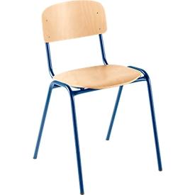 Houtenstoel voor collectieve ruimtes, met onderstel van stalen buis, blauw