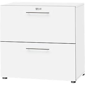 HR-Schrank Start Up, 2 OH, abschließbar, B 800 x T 420 x H 744 mm, Holz, weiß/weiß