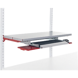Hüdig+Rocholz uitschuifbare houder voor toetsenbord met uittrekbare muishouder systeem Flex, B 800 mm