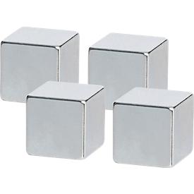 Imán Neodym 32393, fuerza adhesiva aprox. 3 kg, ideal para placas de vidrio, ancho 10 x fondo 10 x alto 10 mm