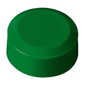 Imanes redondos MAUL, plástico y metal, textura fina, fuerza adhesiva 170 g, ø 15 x 7,5 mm, verde, 20 piezas