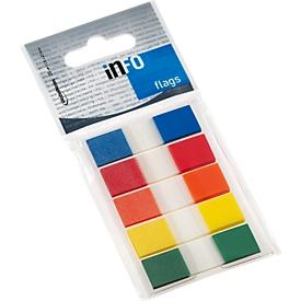 INFO Flags Haftnotizen, 12,5 mm x 43 mm, 5 x 36 Blatt, farblich sortiert