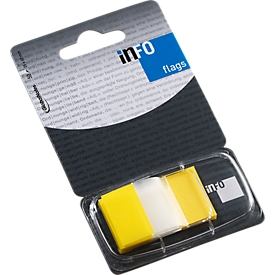 INFO Flags post-its, 25 mm x 43 mm, 50 vellen, geel transparant