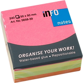 INFO post-its Briljant, 50 mm x 50 mm, 1 x 240 vellen, geel, oranje, groen, roze