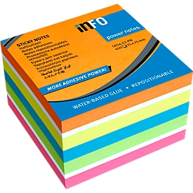 inFO Power Notes Haftnotizwürfel, 75 x 75 mm, 450 Blatt, blanko, 6 Farben