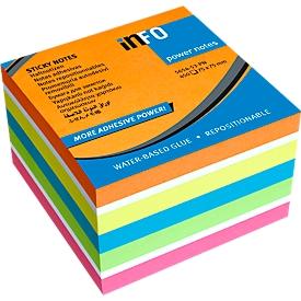 inFO Power Notes Kleverige Notities Kubus, 75 x 75 mm, 450 vel, blanco, 6 kleuren
