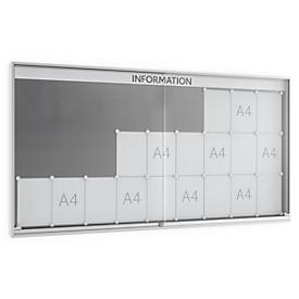 Informatiebord met schuifdeur, 60 mm diep, 9 x 3, gepoedercoat