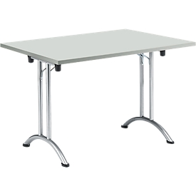 Inklapbare tafel, 1200 x 700 mm, lichtgrijs/blank aluminium