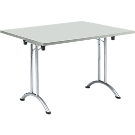 Inklapbare tafel, 1200 x 800 mm, lichtgrijs/chroom