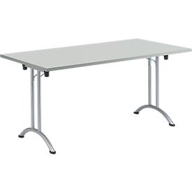 Inklapbare tafel, 1600 x 700 mm, lichtgrijs/blank aluminium