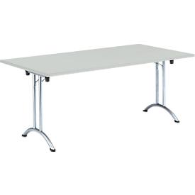 Inklapbare tafel, 1800 x 800 mm, lichtgrijs/chroom