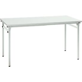 Inklapbare tafel, stabiele 4-poot met speciaal klapmechanisme, B 1200 x D 800 x H 725 mm, lichtgrijs/lichtgrijs