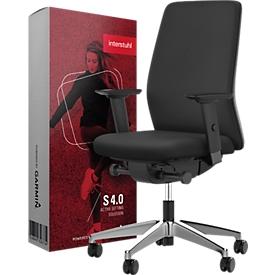 Interstuhl Bürostuhl AIMis1, mit Armlehnen, Synchronmechanik, Flachsitz, inkl. Sitzsensor S 4.0, schwarz/alusilber