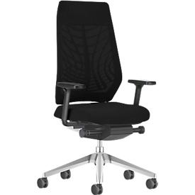 Interstuhl JoyceIS3-bureaustoel, synchroonmechanisme, armleuningen, FlexGrid lendensteun, netrug, vlakke zitting, lichtgrijs/zwart