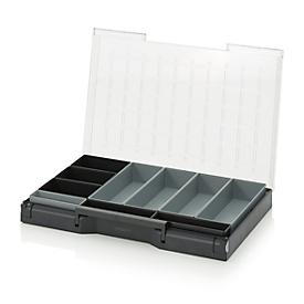 Inzetbak-set voor assortimentsdoos 600 x 400 mm, ABS-kunststof, versch. rasterafmetingen, antraciet/grijs, 10-delig
