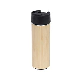 Isolierbecher inkl. Teesieb Bambus - cm 480ml, Schwarz, Auswahl Werbeanbringung optional