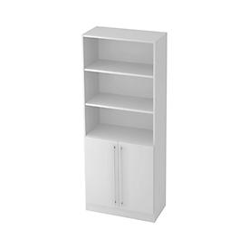 JENA combi-boekenkast, 5 OH, 3 open vakken + 2 deuren, B 800 x D 420 x H 2004 mm, lichtgrijs