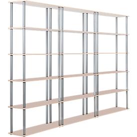 Juego completo 3 estanterías de oficina con 6 estantes c/u (5 AA)