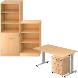 Juego completo escritorio/armario auxiliar/armario estantería/estantería ULM, acabado en arce