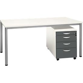 Juego completo NEVADA, escritorio W 1600 mm, pie de tubo redondo + pedestal móvil 4 cajones, blanco/blanco-gris oscuro