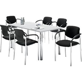 Juego de 6 sillas STYL, negro + 1 mesa 1600 x 800 mm, gris claro