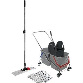 Juego de carrito de limpieza, cubo con ruedas doble 2 x 27l, con prensa, + soporte abatible de plástico y 5 mopas de algodón