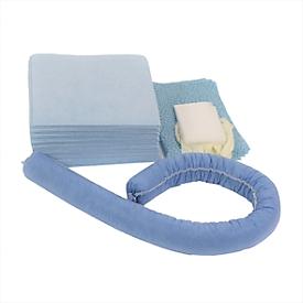 Juego de emergencia para fugas con aglutinante de aceite azul, absorción 20 l, 41 piezas, en bolsa de PVC