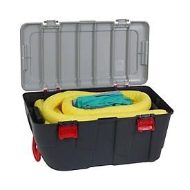 Juego de emergencia para fugas contra sustancias químicas amarillo, absorción 100 l, 77 piezas, en maletín portátil