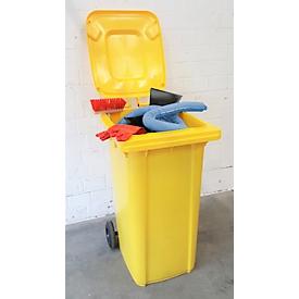 Juego de emergencia para fugas en contenedor rodante, de 167 piezas, aglutinante de aceite azul, capacidad de absorción 200 l