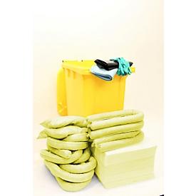 Juego de emergencia para fugas en contenedor rodante, de 167 piezas, para sustancias químicas, capacidad de absorción 200 l