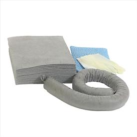 Juego de emergencia para fugas universal gris, absorción 20 l, 41 piezas, en bolsa de PVC