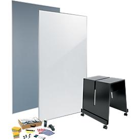 Juego de pizarra blanca/tablero de anuncios sigel MUB01, de 4 piezas, 1 pizarra blanca y 1 tablero anuncios An 900 x Al 1800mm, 1 soporte móvil y juego de herramientas