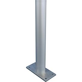 Juego de soportes de aluminio, tubo redondo, con placa de base, ø 80 x 2150 mm, aluminio plateado
