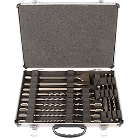 Juego de taladradora de percusión y cincel ECO, con alojamiento SDS plus, de 17 piezas