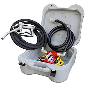 Juego de transferencia de gasolina CEMO Cematic 12/30 EX, electrobomba 12V, 25 l/min, manguera aspirante 2m, manguera de surtidor 4m, pistola de surtidor, en caja de plástico